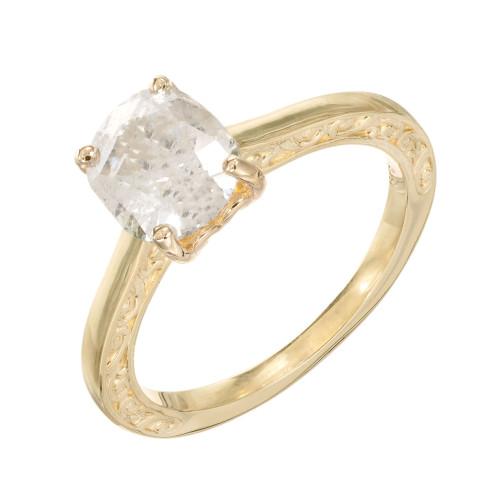 EGL 1.80 Carat Cushion Cut Diamond Clarity Enhanced Gold Solitaire  Engagement Ring