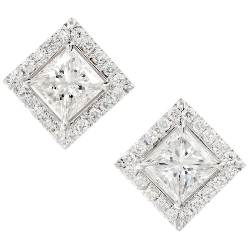 Peter Suchy GIA EGL Certified 2.67 Carat Diamond White Gold Halo Earrings