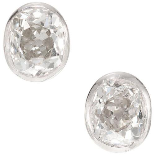 Peter Suchy 1.63 Carat Diamond Bezel Platinum Stud Earrings