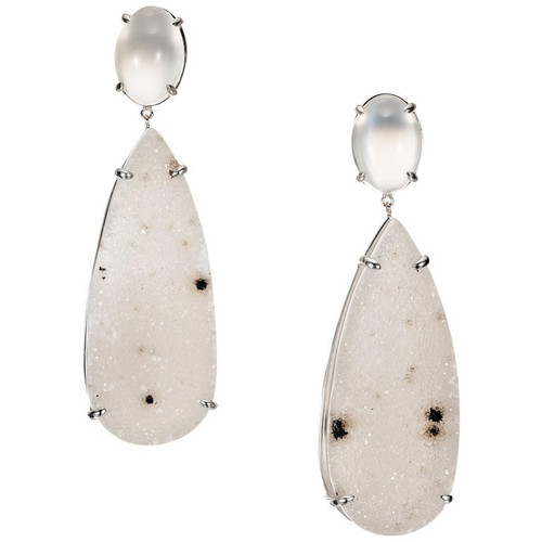 Peter Suchy 11.7 Carat Moonstone Quartz White Gold Dangle Drop Earrings