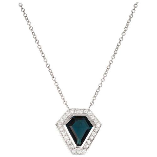 Peter Suchy 1.75 Carat Indicolite Tourmaline Diamond White Gold Pendant Necklace