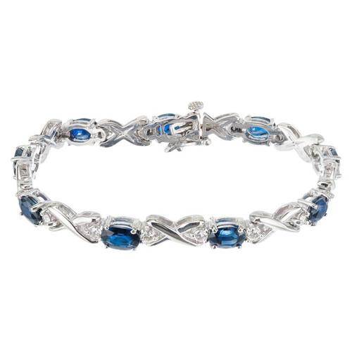 GIA Certified 7.00 Carat Blue Sapphire Diamond White Gold Bracelet