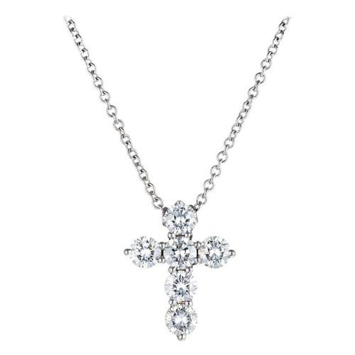 .90 Carat Diamond Cross Pendant Necklace
