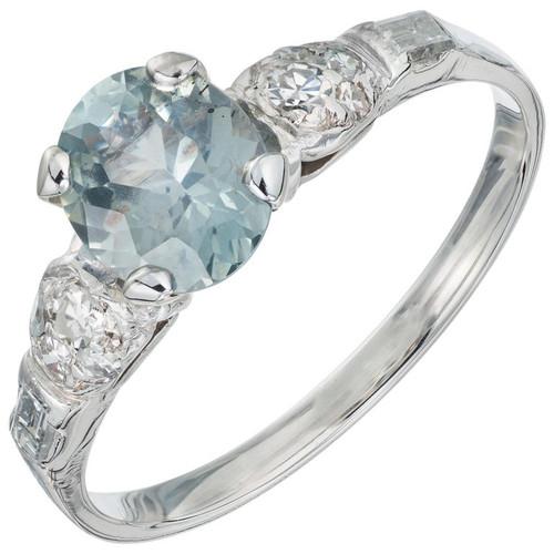 GIA Certified 1.01 Carat Green Sapphire Diamond White Gold Engagement Ring