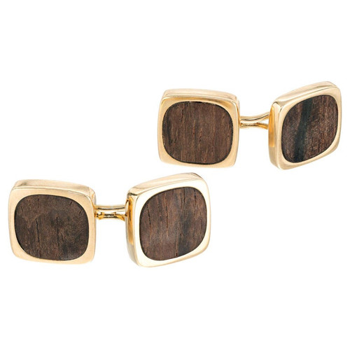 Dinh Van Rosewood Yellow Gold Double Sided Men's Cufflinks