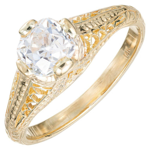 EGL Certified 1.01 Carat Diamond Yellow Gold Engagement Ring