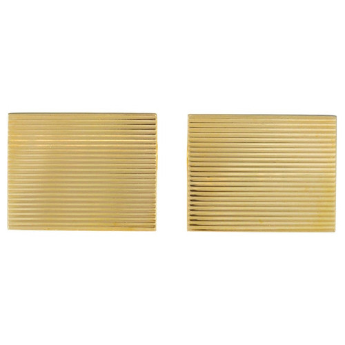 14 Karat Yellow Gold Rectangular Lined Design Men's Cufflinks