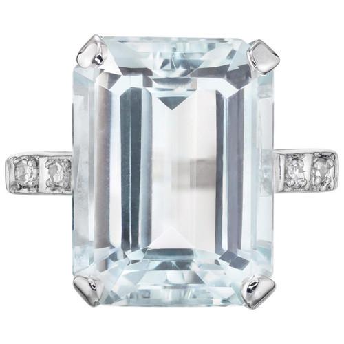 10.51 Aquamarine Diamond White Gold Cocktail Ring