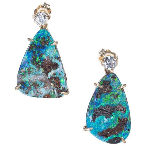 Peter Suchy 7.95 Carat Opal Diamond Dangle Earrings