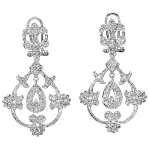 .25 Carat Diamond Open Work Dangle Earrings