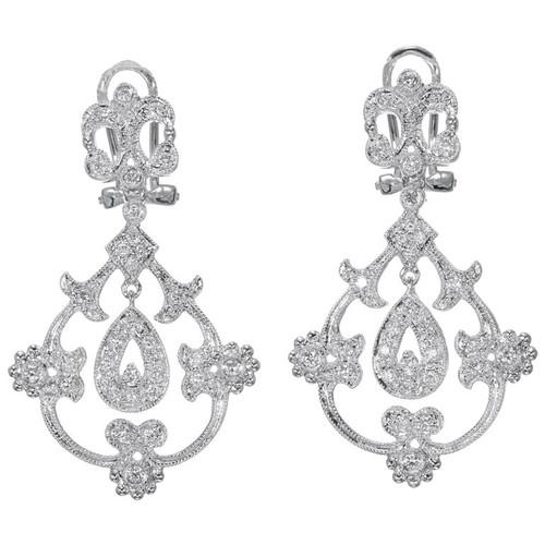 .25 Carat Diamond Open Work Dangle Earrings