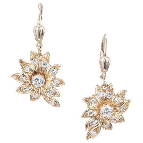.80 Diamond Flower Yellow Gold Dangle Earrings