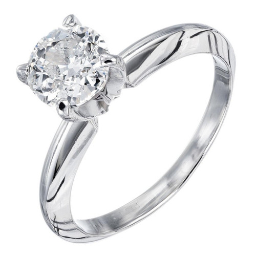 EGL Certified 1.00 Carat Diamond Platinum Solitaire Engagement Ring