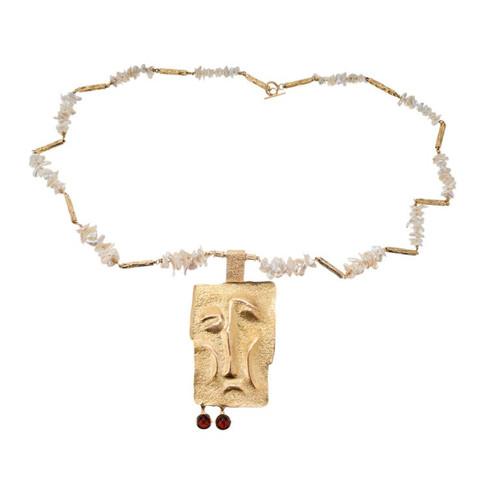 Karl Stittgen Freshwater Pearl Yellow Gold Artist Style Necklace