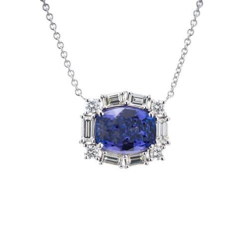 Peter Suchy 6.56 Carat Tanzanite Diamond White Gold Pendant Necklace