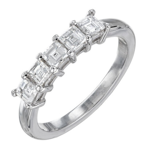 Peter Suchy .75 Carat Square Cut Diamond Platinum Wedding Band Ring