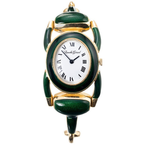 Beuche Girord  Enamel Yellow Gold Equestrian Wristwatch