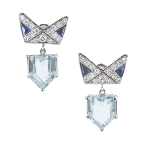 6.32 Carat Aqua Sapphire Diamond Platinum Dangle Earrings