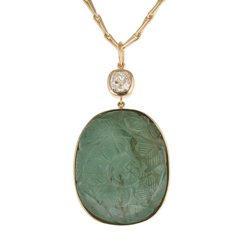 GIA Certified 102.74 Carat Carved Mogul Emerald Diamond Gold Pendant Necklace