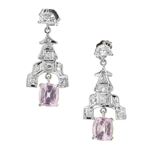 GIA Certified 2.10 Carat Pink Sapphire Diamond Platinum Dangle Earrings