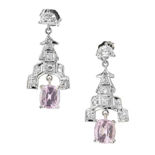 GIA Certified 2.10 Carat Pink Sapphire Diamond Platinum Dangle Earrings
