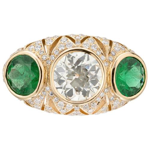 Peter Suchy GIA Certified 1.54 Carat Diamond Emerald Yellow Gold Three Stone Rin