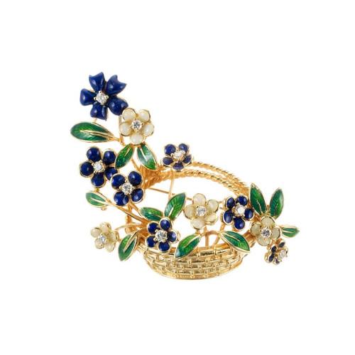 Tiffany & Co .22 Carat Diamond Enamel Yellow Gold Flower Basket Brooch