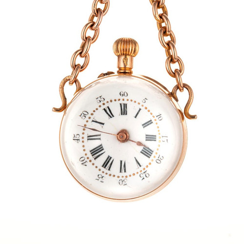Rose Gold Crystal Ball Pocket Watch Pendant Necklace