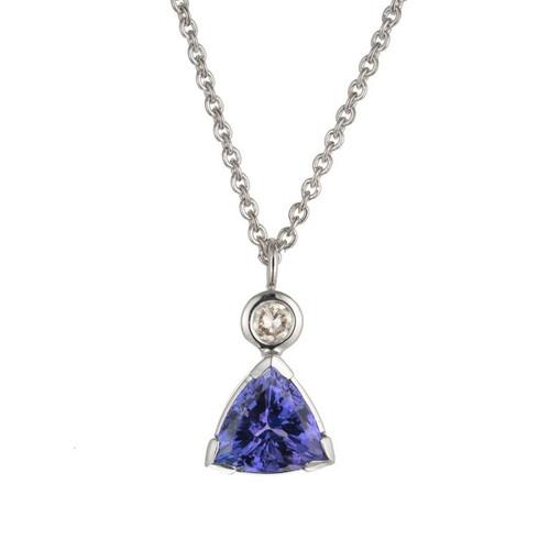 Peter Suchy 4.20 Carat Tanzanite Diamond White Gold Pendant Necklace