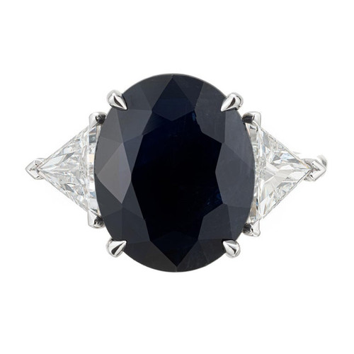 Peter Suchy GIA Certified 8.34 Carat Sapphire Diamond Platinum Engagement Ring