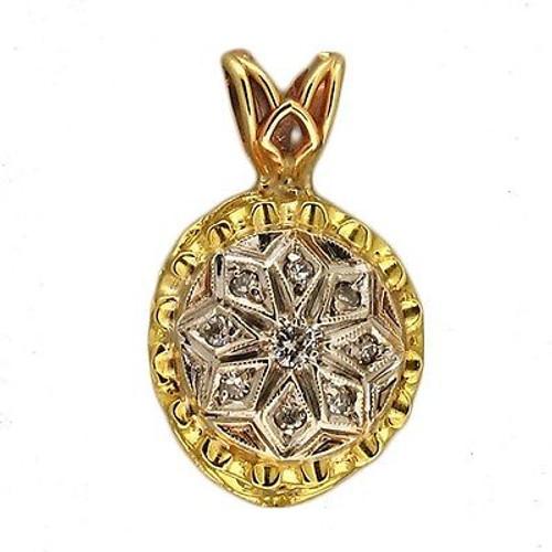 Vintage 1950s Pierced Scroll Design 14k Round Diamond Pendant White Gold Top