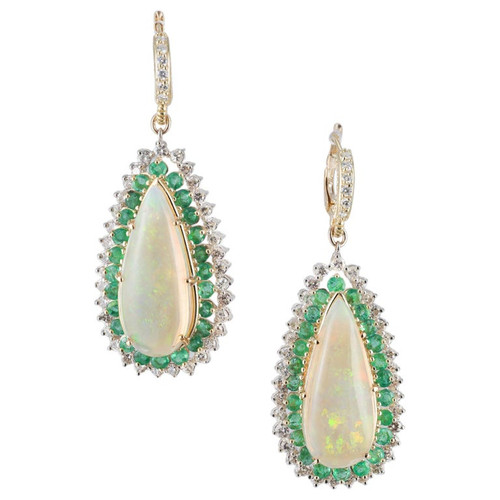 14.00 Carat Opal Emerald Diamond Halo Gold Dangle Earrings