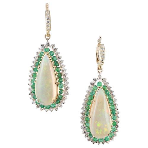 14.00 Carat Opal Emerald Diamond Halo Gold Dangle Earrings