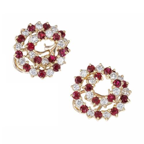 5.24 Carat Ruby Diamond Yellow Gold Swirl Clip Post Earrings