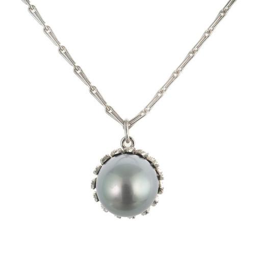 Buccellati Black South Sea Cultured Pearl White Gold Pendant Necklace