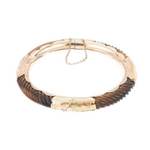 Vintage Tiger Eye Yellow Gold Bangle Bracelet