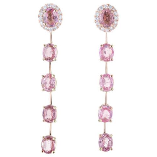 Peter Suchy 4.50 Carat Pink Sapphire Diamond Rose Gold Dangle Drop Earrings