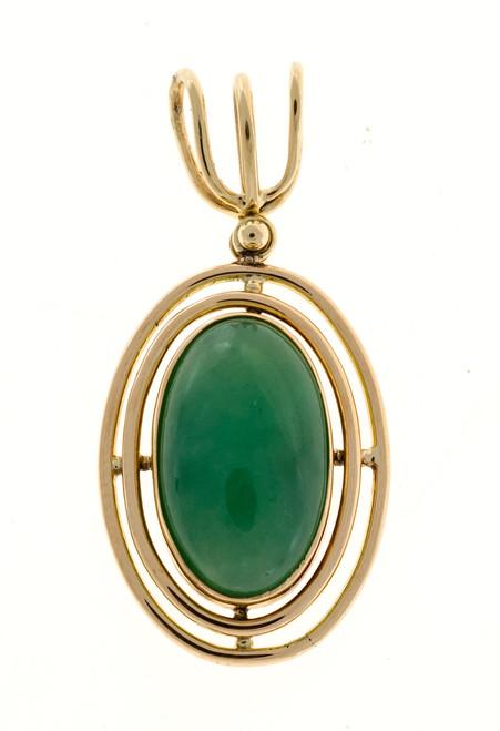 Vintage 1920'S 14k Rose Gold 2 Row Wire Frame Oval Jadeite Jade Pendant Agl Cert