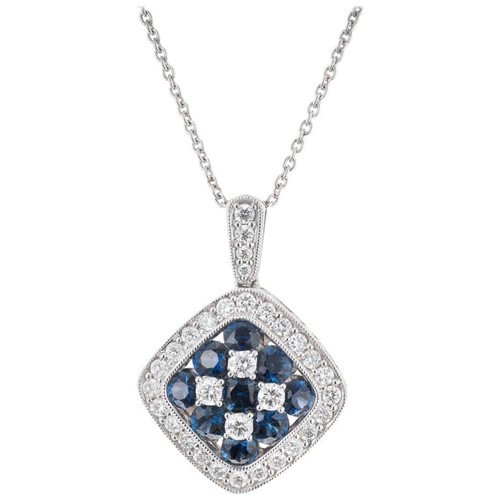 Gregg Ruth 1.25 Carat Sapphire Diamond White Gold Pendant Necklace
