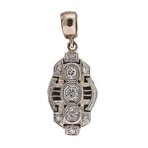 Vintage 1940'S Art Deco 9 Transitional Diamond .17CT 14k Gold Open Work Pendant
