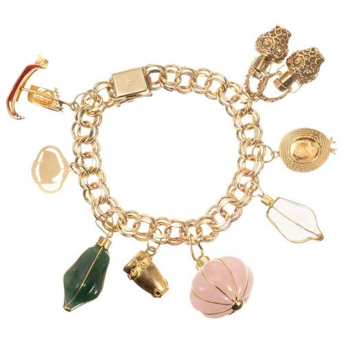 European Quartz Aventurine Mixed Travel Gold Charm Bracelet