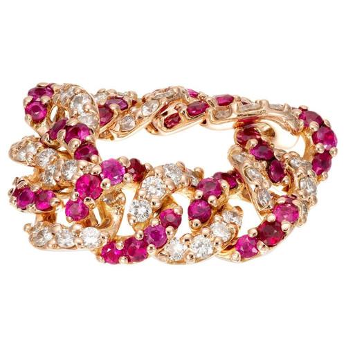 .72 Carat Ruby Diamond Rose Gold Flexible Link Ring