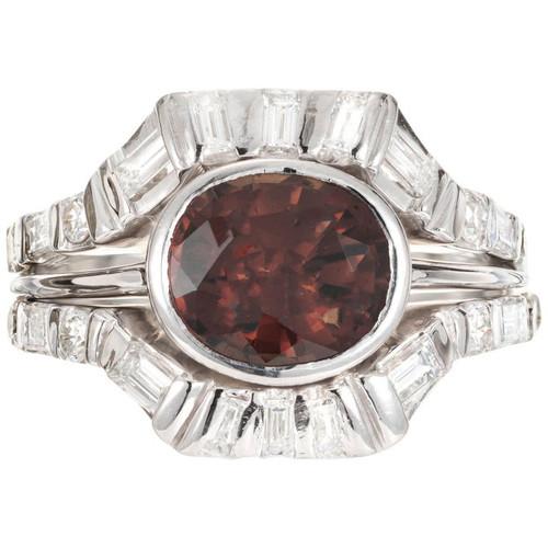2.88 Carat GIA Certified Spessparite Garnet Diamond Platinum Cocktail Ring