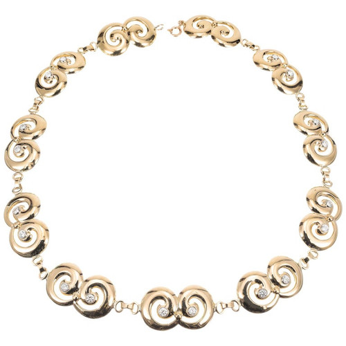 Tiffany & Co 1.80 Carat Diamond Yellow Gold Swirl Link Necklace
