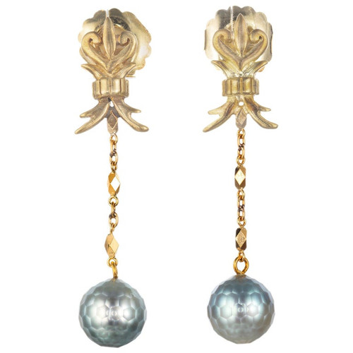Robin Rotenier Pearl Yellow Gold Drop Dangle Earrings