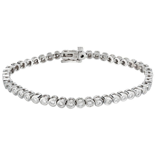 Peter Suchy 2.50 Carat Round Bezel Set Diamond Gold Tennis Bracelet