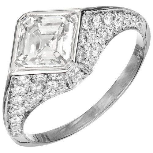 Peter Suchy GIA Certified 1.41 Carat Diamond Platinum Engagement Ring