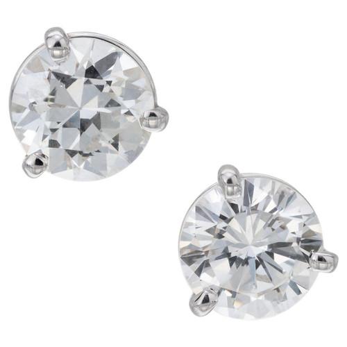 GIA Certified 1.94 Carat Diamond Three Prong Platinum Stud Earrings