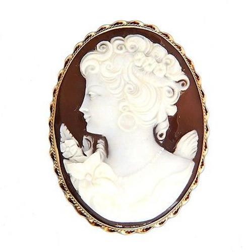 Vintage 44 X 33mm Dark Background 14k Shell Cameo Woman Profile Pin Pendant