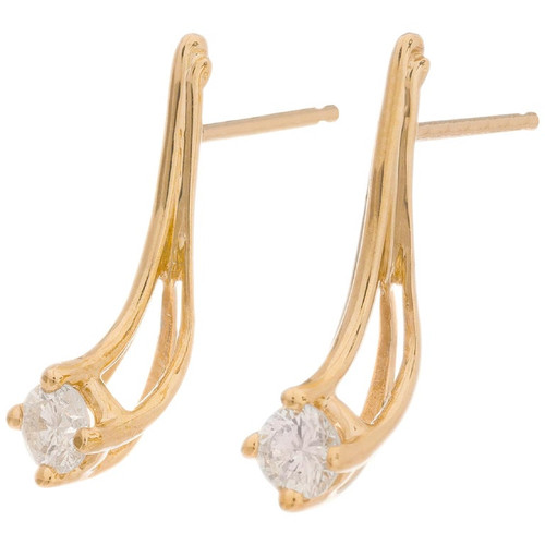 .30 Carat Diamond Yellow Gold Wire Earrings